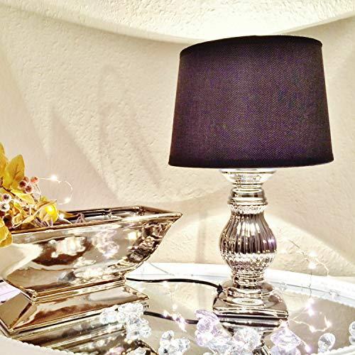 Steffi tafellamp van keramiek 36 cm voet: zilver scherm: zwart