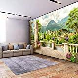 Msrahves fotomurales decorativos pared 3d modernos Verde columna romana jardín paisaje Fotomurales 3D Pintura Óleo Fotográfico Mural Papel Pintado Fotomurales Salón Dormitorio Decoración de Paredes Mo