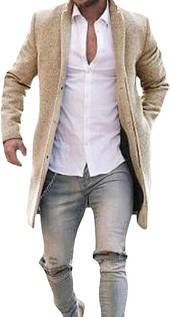 Men's Single Breasted Basic Wool Blend Outwear Slim Long Trench Coat