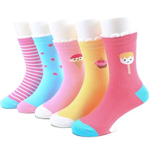 SUNBVE 5 Pack Toddler Little Girls Ice Cream Novelty Cotton Dress Socks Ice Cream  Shoe size 9.5-12.5 Little Kid / 4-6 years