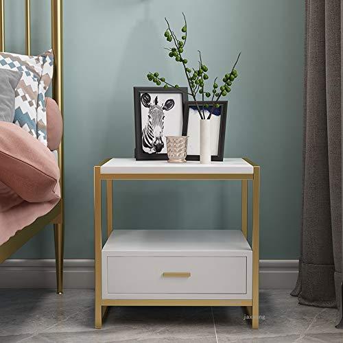 SUNTAOWAN Muebles de Dormitorio de la Moda nórdica Mesa de Noche Metal Hierro Forjado con cajón Estante de Lujo Moderno Casa de alojamiento para Casas (Color : A)