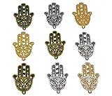 30pcs Filigree Hamasa Hand Charm,Jewish Hamesh Hamsa Hand Pendant Connector for DIY Necklace...