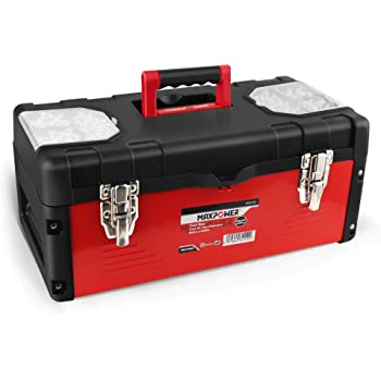 """MAXPOWER Tool Box 17"""" Plastic and Metal Portable Organizer Tool Box for Tool or Craft Storage,Locking Lid and Extra Storage"""