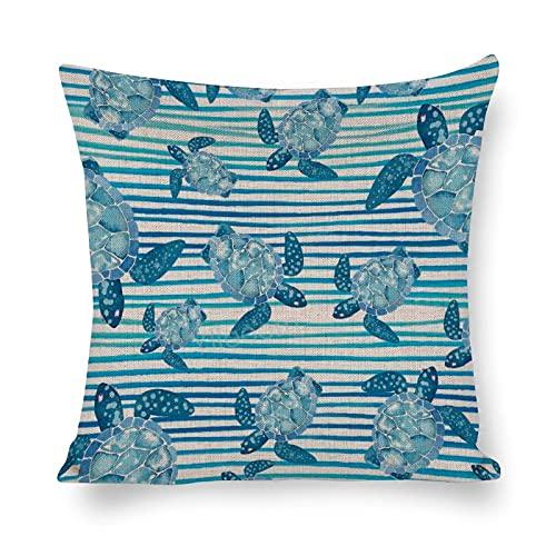Funda de almohada cuadrada de 12 x 12 pulgadas, funda de almohada de lino de algodón, para cama, sofá, coche, decoración del hogar, tortugas de mar turquesa