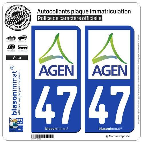 blasonimmat 2 Autocollants Plaque immatriculation Auto 47 Agen - Agglo
