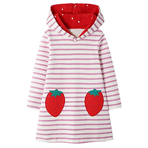 VIKITA Mädchen Kleider Streifen Langarm Baumwolle Herbst Winter T-Shirt Kleid JM7167 3T