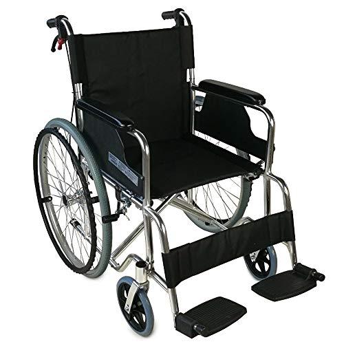 Mobiclinic, Palacio, Silla de ruedas plegable, ortopédica, autopropulsable para ancianos y minusválidos, aluminio, freno en manetas, reposapiés y reposabrazos extraíbles, asiento, ultraligera, negro