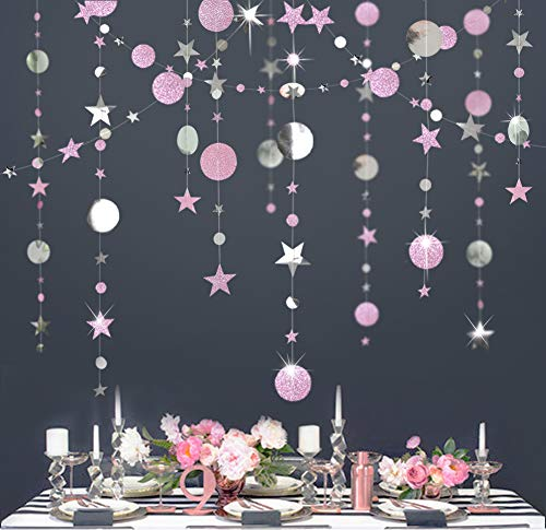 Decor365 Glitter Pink and Silver Theme Circle Dot Garland Twinkle Little Star Garlands Polka Dots Streamer Backdrop/Bunting Banner Birthday Party Decoration/Baby Shower/Wedding Decor/Girls Room/Bridal