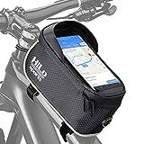 HiLo sports Fahrrad Oberrohrtasche für Smartphone wasserabweisend - Rad Rahmentasche am Oberrohr - Handy Fahrradtasche Rahmen E-Bike Mountainbike (schwarz)