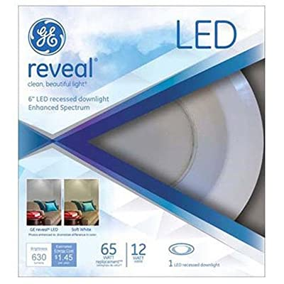 GE Lighting 95392 Reveal LED 12-Watt (65W Replacement) 630-Lumen 6-Inch Recessed Indoor Flood Downlight with Medium Base and Trim Ring