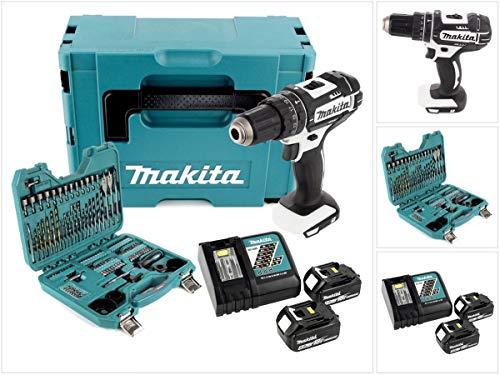 Makita DHP 482W rtj–Batería de ion de litio de 18V atornillador inalámbrico en Makpac + 2x BL1850. 5,0Ah Batería + DC 18RC Cargador rápido + 100piezas Bit & Juego De Brocas