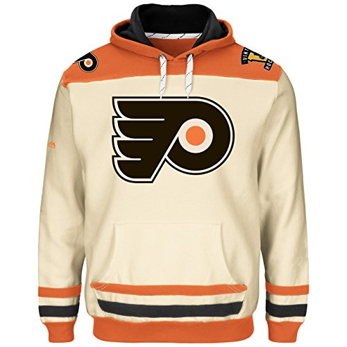 Majestic NHL Kaputzenpullover Hoody Hooded Jersey Sweater Philadelphia Flyers Double Minor Vintage Creme (S)