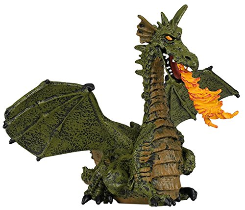 Papo 39025 Green winged dragon with flame ENCHANTED WORLD Figurine, Multicolour
