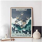 QQWER Brüssel Stadt Cetak Belgien Peta Kota Poster