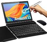 Tablet 10 Pollici Android 11,ANTEMPER 4G LTE Tablets Doppia SIM, 4GB-64GB ROM 128GB Espandibili,Octa Core 1080P FHD,6000mAh 13+5MP Fotocamera,WiFi,GPS,Face ID,BT 5.0,Con Ttastiera Bluetooth Mouse-Nero