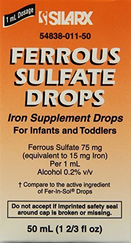 Ferrous Sulfate Iron 15mg/ml Supplement Drops 50ml Bottle -Pack of 3- by FER-IN-SOL