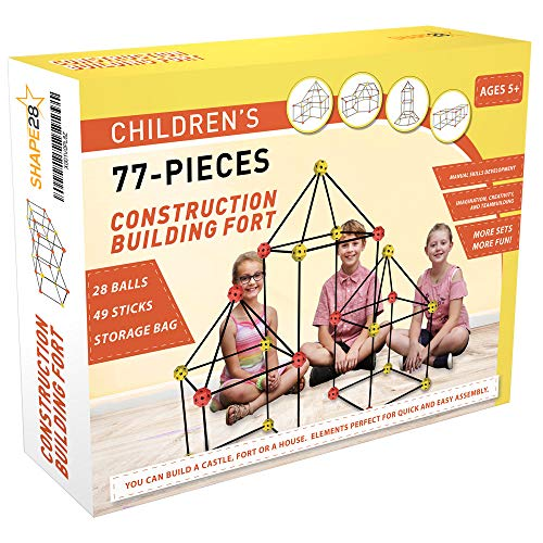 Construction Fort Building Kit - 77 Pieces with Storage Bag - Orange and Yellow