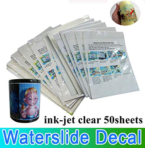 50 unidades por paquete de papel adhesivo para vela de cera, cristal, papel de transferencia de agua (transparente)