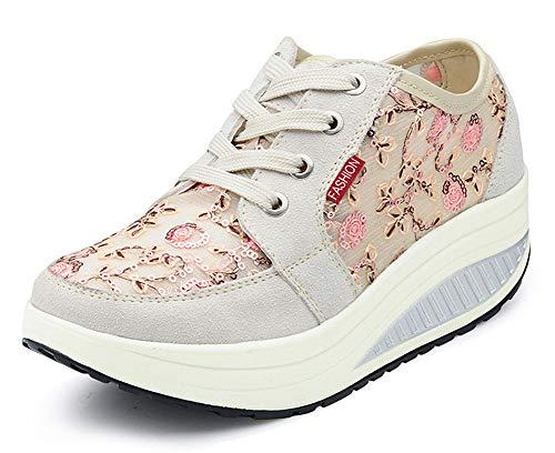 CELANDA Mujer Zapatos de Deporte Adelgazar Zapatos Sneakers para Caminar Zapatillas Aptitud Cuña Plataforma Zapatos de Cuero Gamuza Primavera Verano Zapatos de Cuña