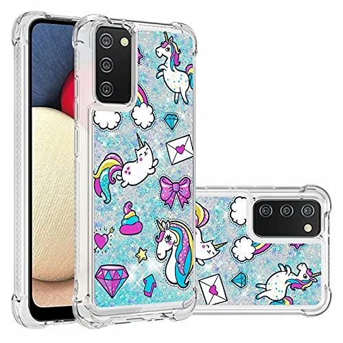Ttimao Compatible con Funda Samsung Galaxy A02S Flotante Glitter Brillante Liquid Quicksand Case Cristal Suave Silicona TPU Cuatro Esquinas Anti-Caída Cáscara-Caballo Mensajero