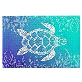 1000 Pieces Sea Turtle In Line Art Puzzle,Fun Educational Toy For Kids Ages 12,Teens,Adults & Families.Educational Games Home Decoration Puzzle,Size 29.5 X 19.7