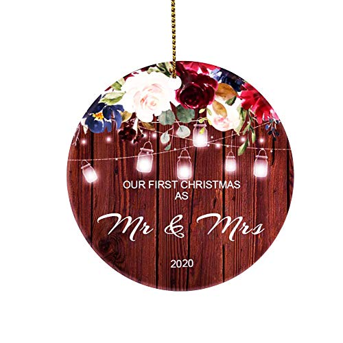 AREDM First Christmas Ornaments as Mr & Mrs Couple Married 2020 Wedding Decoration 2.9 inch Ornament (Mr & Mrs Brown Two-Sides
