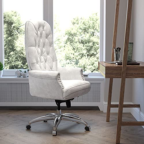 Flash Furniture High Back Traditional Tufted White LeatherSoft Multifunction Executive Swivel Ergonomic Office Chair with Arms