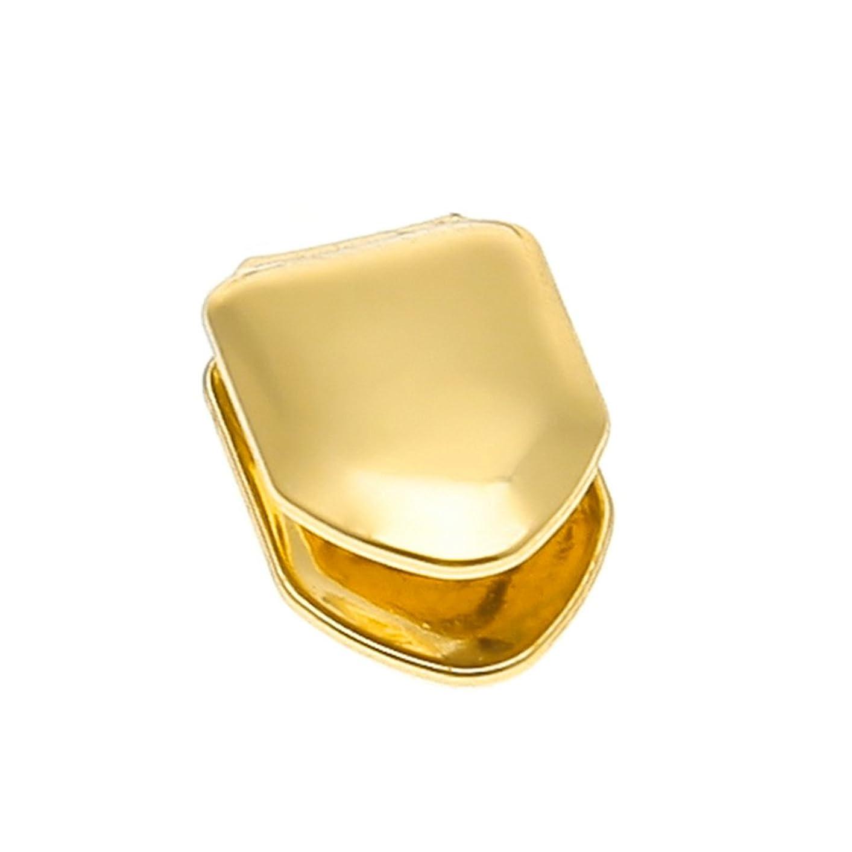 支援剪断晴れHealifty ヒップホップの歯のキャップソリッド14Kゴールドメッキの小さなシングルトゥースキャップ上下のヒップホップの歯のグリル(ゴールド)