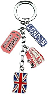 LUOEM London Keychains UK Souvenir Key Rings Metal Keychain Union Jack Flag Keyring Car Keyring Bag Phone Charms