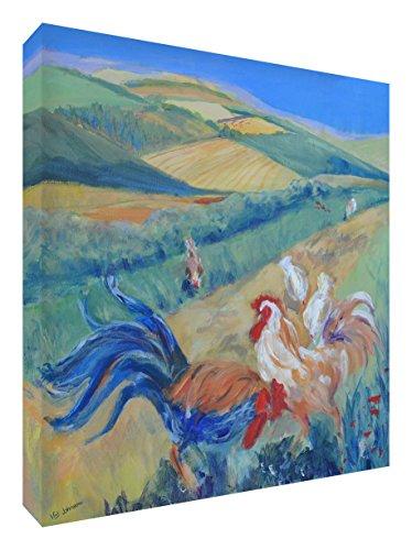 Feel Good Art Originele galerij verpakt Box Canvas, het solide front paneel Vibrant Schilderij van Hühner van kunstenaar Valerie Johnson (25 x 25 x 4 cm, klein, gratis Rangers) 25 x 25 cm veelkleurig
