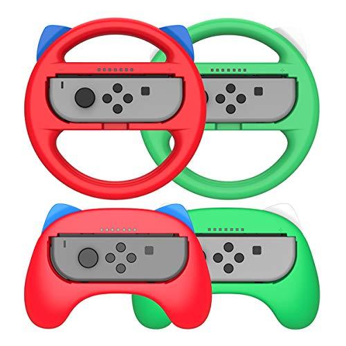 MAXKU 【最新発売】Joy-Con ハンドル+ゲームパッド マリオカート8 デラックス スイッチレーシングゲーム ハンドル 装着簡単 手触り良い 持ちやすい Nintendo Switch スイッチ ジョイコン 対応 (レッド/グリーン4点セット)