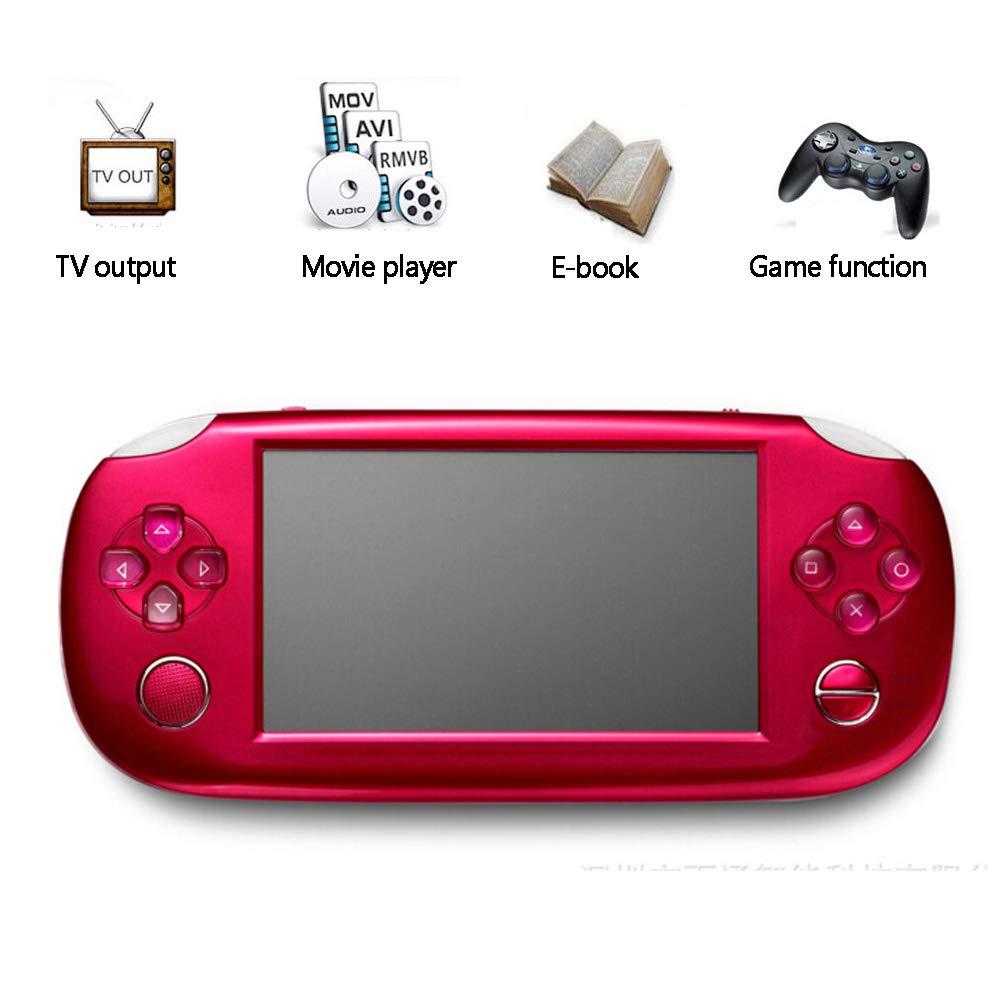 KGAYUC Consola De Juegos para Niños, Consola De Juegos Portátil 4,3 Pulgadas con Toque Tiempo De Soporte Función De Calculadora Soporte Salida De TV Reproductor MP4 Adecuado como Regalo,Rojo: Amazon.es: Deportes y