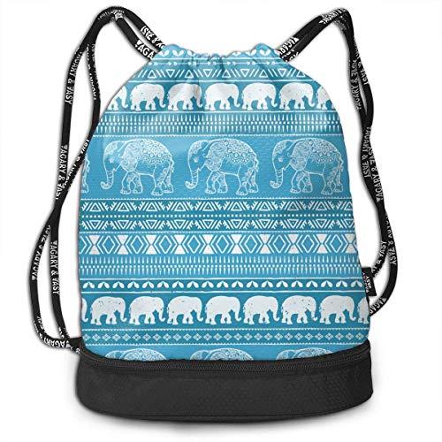 Ligero multifunción bebé elefante patrón paquete de moda mochila bolsos de hombro al aire libre bolsa con cordón para mujeres / hombres