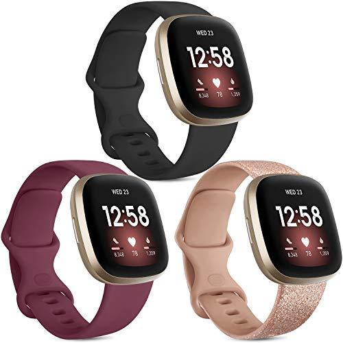 Vancle 3 Pack Armband Kompatibel mit Fitbit Versa 3 Armband/Fitbit Sense Armband, Weich TPU Sport Ersatz Armbänder Damen Herren für Fitbit Versa 3/Sense (S, Schwarz/Weinrot/Flash Roségold)