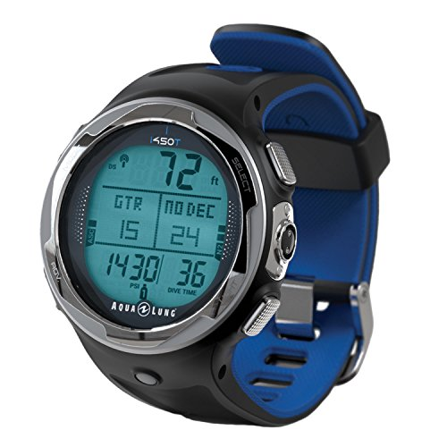 Aqua Lung i450t Hoseless Air Integrated Wrist Watch Dive Computer w/USB, Blue