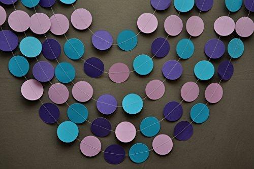 Mermaid Party Decoration - Purple, Lilac, Blue Turquoise - Birthday Decoration - Paper Garland - Nursery - Kids Room Decor - Circles Garland.Only 10ft garland #GAR_149