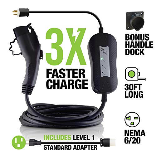 Level 2 EV Charger by EV Gear | 30 ft Portable Plug-In Charger, 110v - 240v | Includes Level 1 Adapter | Works with all Electric & Hybrid Cars such as Chevy Volt/Bolt, Nissan Leaf, Prius Prime, Tesla