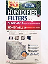 BestAir H75-2 Pack, Holmes Replacement, Paper Wick Humidifier Filter, 7.9