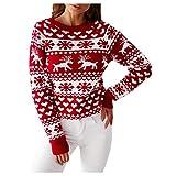 MINYING Pull Femme Noël Sweater Tricot Coton Joyeux Christmas Top T-Shirt Motif Flocon de Neige Arbre de Noël Wapiti Imprimé Fête Dames Noël Col Rond Casual Automne Hiver