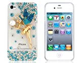 3D Crystal Decorated Fairy Pattern Protective Case for iPhone 4/4S (Blue)