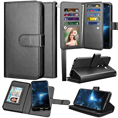 LG V35 ThinQ Wallet Case, LG V30 Wallet Case, LG V30 Plus/LG V30S ThinQ/LG V35 Case Wallet, Takfox PU Leather Folio Flip 9 Card Slots Holder with Lanyard Detachable Magnetic Wallet Case-Black
