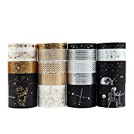 Dizdkizd 20 Rolls Washi Tape Set, Universe Design Masking Tapes with 3 Sizes 8mm/15mm/30mm, Hot Stamping Decorative Washi Tapes for DIY Craft, Bullet Journal, Planners, Scrapbooking