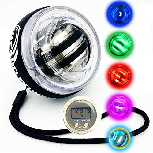 Iboing Gym Power Ball Giroscopio Muñecas Powerball Equipo De Ejercicio Mano Ejercitador De Agarre Gyro Fitness Ball Relajación Muscular con Luces LED y Contador LCD