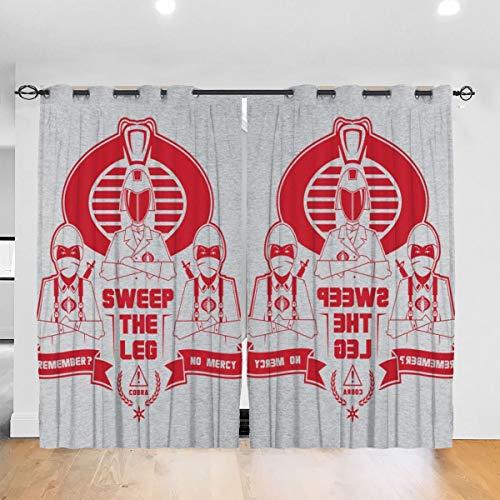 HONGYANW Verdunkelungsvorhänge GI Joe Cobra Karate Kid Cobra Kai Mix Ösen Thermoisoliert Raumverdunklung Vorhang für Schlafzimmer Wohnzimmer 132,9 x 182,9 cm, 2 Panels