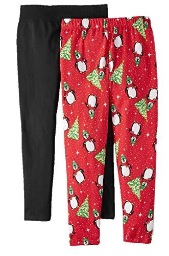 Christmas Penguin Red & Black Plus Size 2 Pack Fleece Lined Legging - 1X