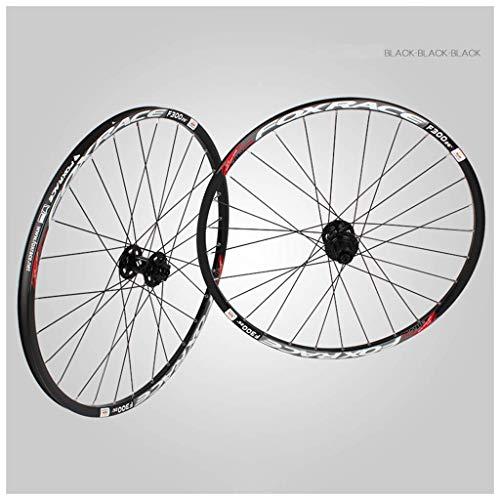 ZHTY Rueda de Bicicleta para 26'27.5 29in MTB Juego de Ruedas Delantera y Trasera Llanta de aleación de Doble Pared 6 Palin Bearing Brake Disc QR 1700g 7-11 Speed Cassette Hub 24H