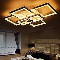 天井スポットライト - ブラックアイアンシーリングライトLed調光天井ランプ6スクエアリビングルームランプベッドルームランプダイニングルームキッチン照明シーリングライトホワイトアクリルランプシェード天井ランプ装飾照明器具 リビングルームヌル