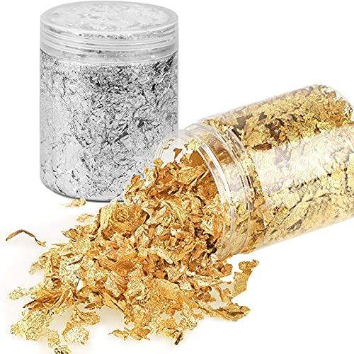 2 Botellas Copos de Pan de Oro de Imitación, Escamas de Lámina Metálica Dorada para Arte de Resina, Pintura, Manualidades y Decoración de Uñas