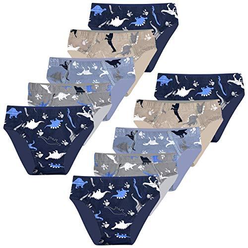 LOREZA ® 10er Pack Jungen Slips Dinosaurier Motiv Baumwolle (128-134 (8-9 Jahre), Slip - 10er Pack)