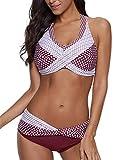 Yanekop Womens Polka Dot Print Bikini Set Halter Neck Swimwear Twist Front 2 Piece Swimsuit(Burgundy,L)